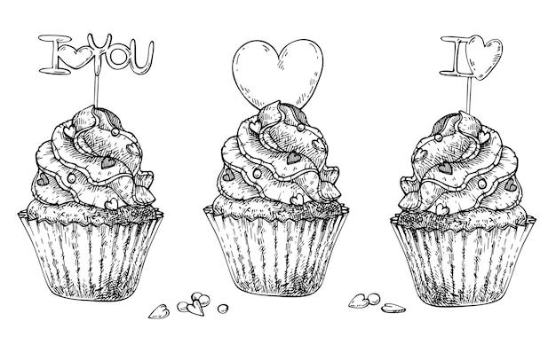 Croquis dessiné main de petits gâteaux avec coeurs et topper