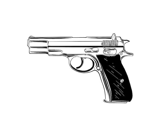 Croquis dessiné main de pistolet ou arme de poing en noir
