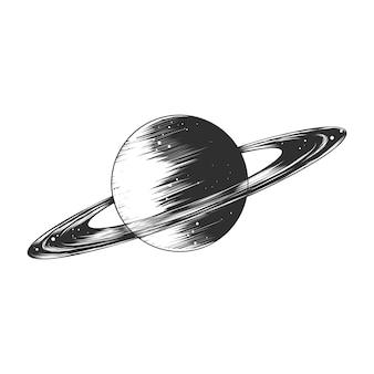 Croquis dessiné main de la planète saturne en monochrome