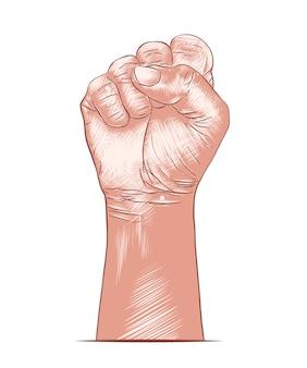 Croquis dessiné de main de poing humain en coloré