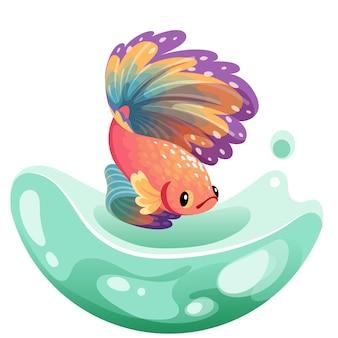 Croquis dessiné main poisson betta, poisson fantail fantaisie coloré. poissons d'aquarium. illustration.