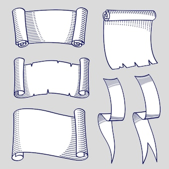 Croquis dessiné à la main des rouleaux et des rubans