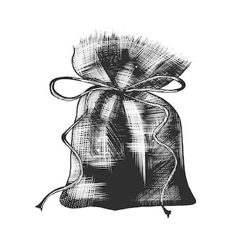 Croquis dessiné main de sac de café en monochrome