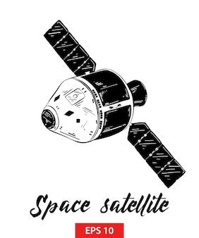 Croquis dessiné main de satellite spatial en noir