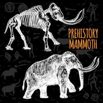 Croquis dessiné à la main, tableau de mammouth