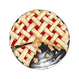 Croquis dessiné de main de tarte américaine colorée