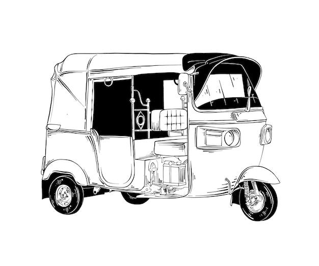 Croquis dessiné à la main de transport thaï tuk tuk