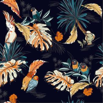 Croquis dessiné main tropical avec oiseaux perroquet exotiques