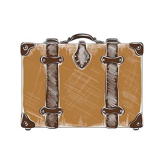 Croquis dessiné main de valise de voyage en coloré