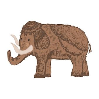 Croquis dessiné de main de vecteur mignon de mammouth sauvage brun