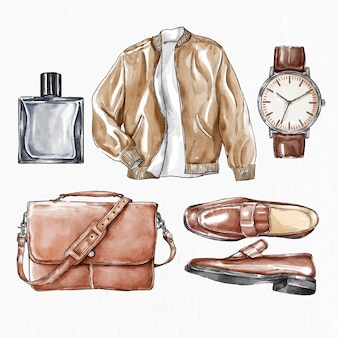 Croquis dessiné de main de vecteur de tenue de mode pour hommes