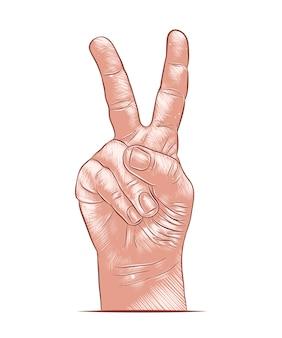 Croquis dessiné de main de la victoire à la main en coloré