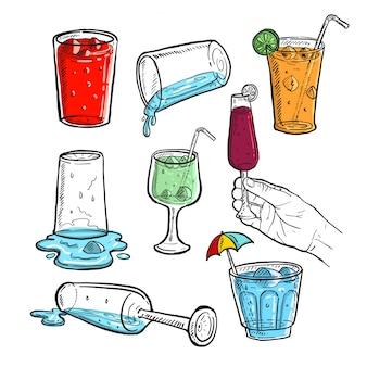 Croquis dessiné à la main de vin de jus de fruits frais et de boissons fraîches