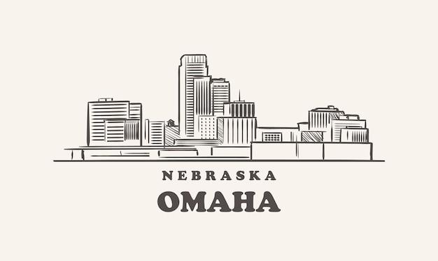 Croquis dessiné omaha skyline nebraska