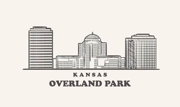 Croquis dessiné skyline kansas overland park