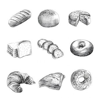Croquis dessinés à la main de boulangerie, pain, croissant, craquelins, bagel