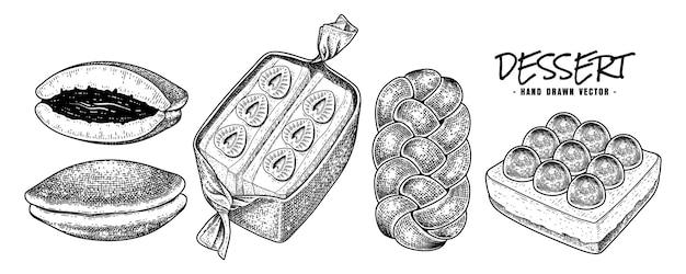 Croquis dessinés à la main de collection de desserts vecteur sandwich dorayaki pain challah et toast aux fruits