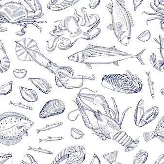Croquis dessinés à la main éléments de fruits de mer profilés