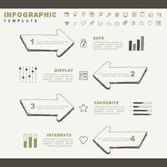 Croquis dessinés à la main avec des éléments infographiques