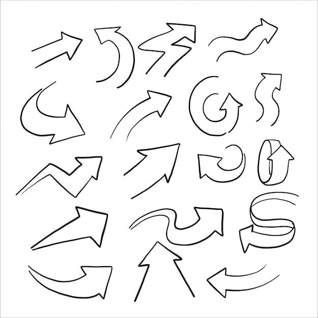 Croquis dessinés à la main de l'ensemble flèche