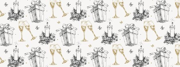 Croquis dessinés à la main, modèle de noël, cadeau de nouvel an