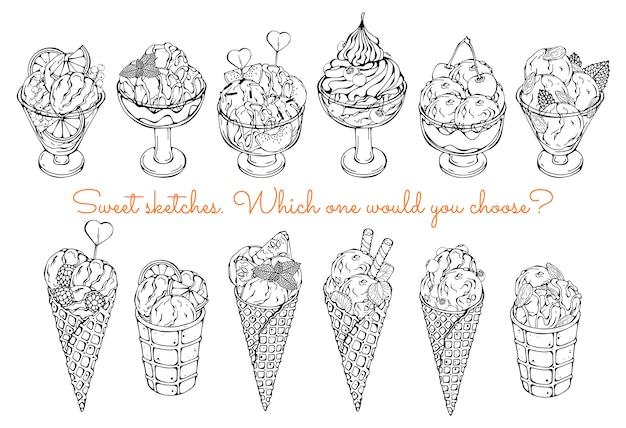 Croquis de différentes sortes de glaces.