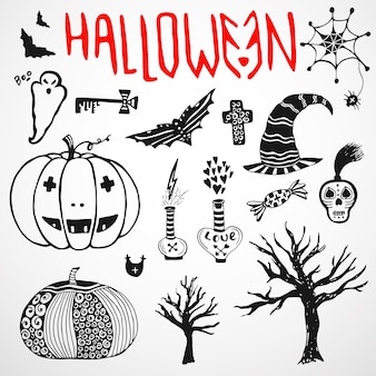 Croquis de doodle halloween. jeu d'icônes de vacances dessinés à la main
