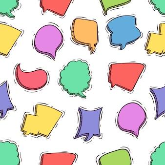 Croquis ou doodle style de modèle sans couture de bulles de parole