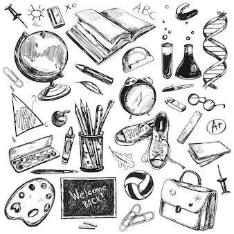 Croquis de doodles retour au fond de l'école