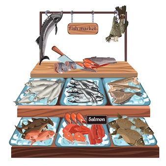 Croquis du concept de marché de fruits de mer