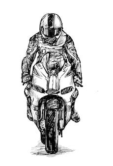 Croquis du dessin de main de conducteur de moto