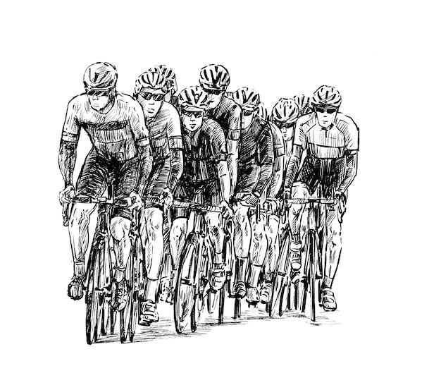 Croquis du groupe de vélos de route dessiner à la main