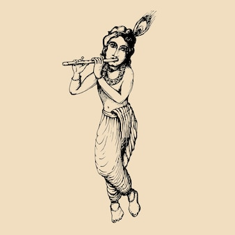 Croquis du jeune dieu krishna. heureux fond janmashtami. illustration vectorielle dessinée pour carte de voeux, affiche du festival, etc.