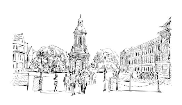 Croquis du paysage urbain de dublin montrent l'architecture ancienne de l'église et du voyageur à pied