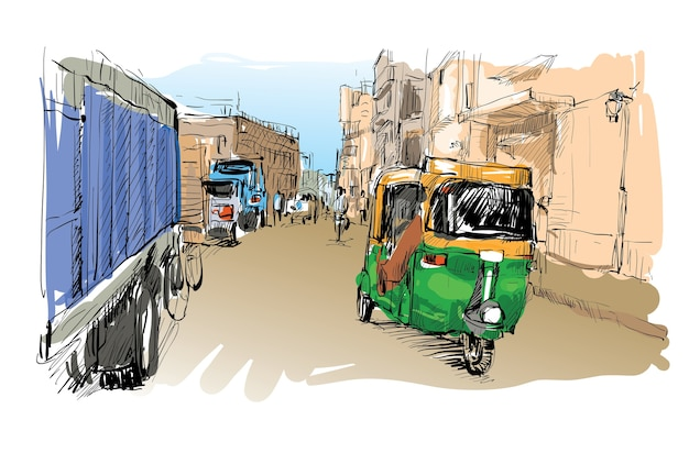 Croquis du paysage urbain en inde montrent le transport moto rickshaw, illustration