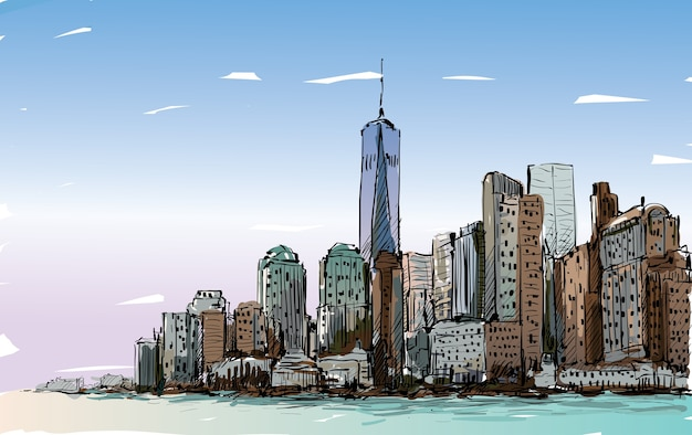 Croquis du paysage urbain de new york montrent le centre de manhattan avec des gratte-ciel, illustration