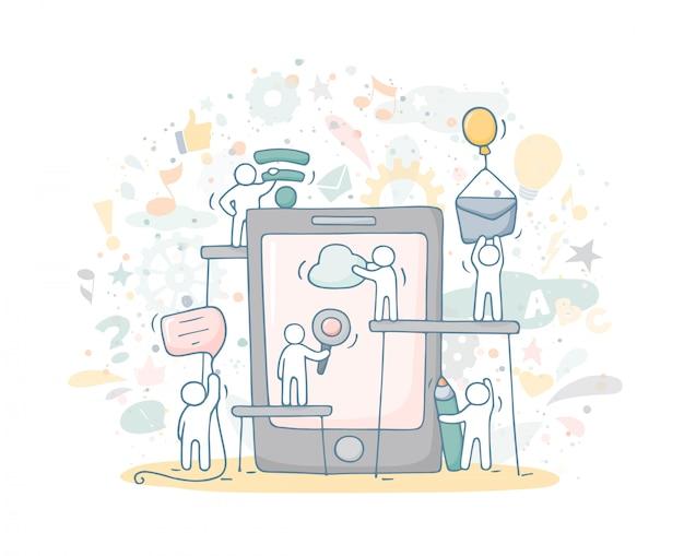 Croquis du petit peuple qui travaille avec smartphone.