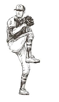 Croquis du tirage de main de joueur de baseball