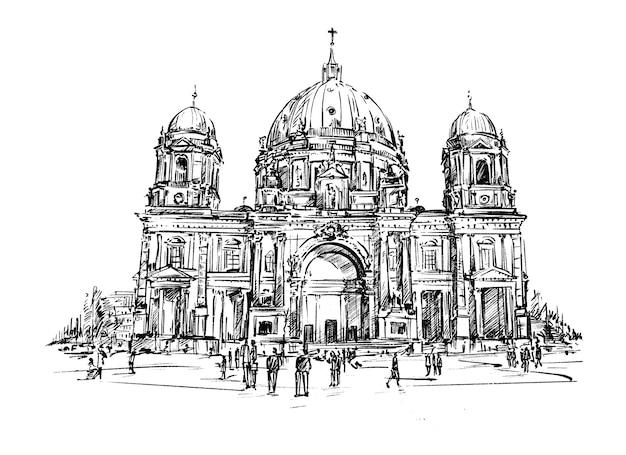 Croquis de l'église à berlin dessiner à la main