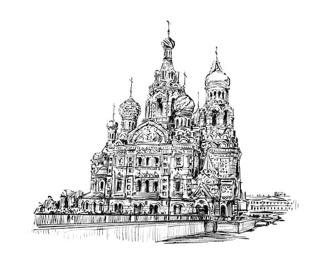 Croquis de l'église en russie dessiner à la main
