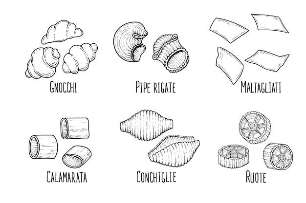 Croquis d'ensemble de pâtes. doodle contour noir et blanc illustration de macaroni de style vintage.