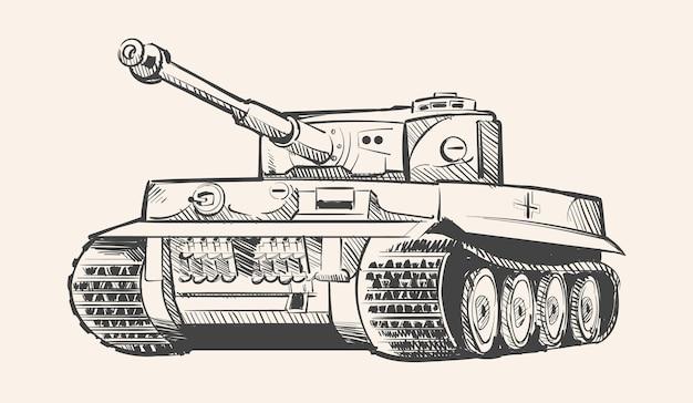Croquis d'ère de char allemand de tigre de deuxième guerre mondiale