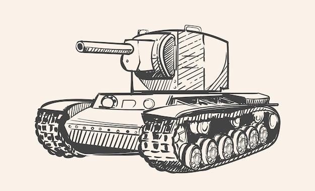 Croquis de l'ère soviétique du char kv2 de la seconde guerre mondiale