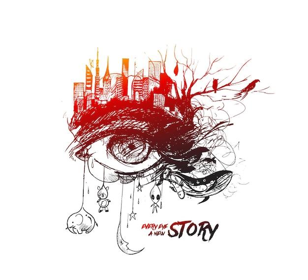 Croquis d'exposition abstraite d'un oeil avec illustration vectorielle de ville urbaine hand drawn sketch