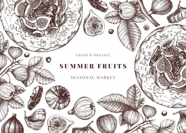 Avec des croquis de figues dessinés à la main. cadre vintage avec illustration botanique de branche de figue, fruits frais et secs, gâteau de cuisson. modèle rétro avec des éléments de nourriture d'été.