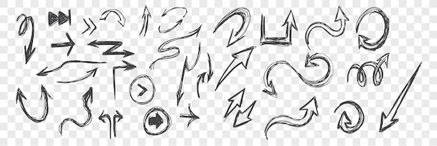 Croquis de flèches doodle mis illustration