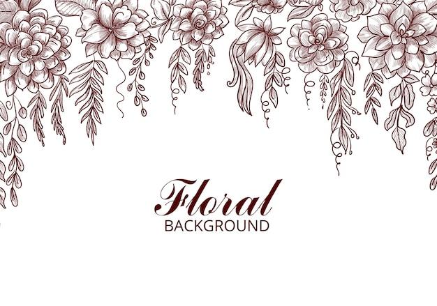 Croquis de fleur décoratif dessiner main