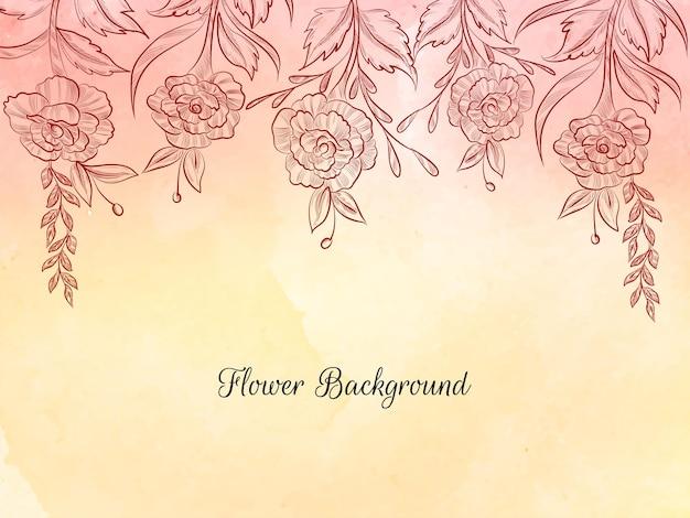Croquis de fleur de style dessiné à la main vecteur de fond pastel doux