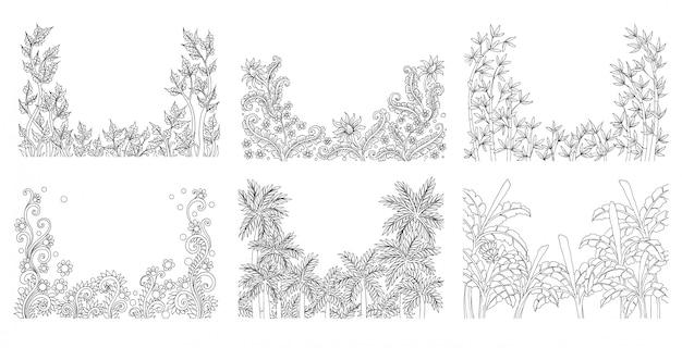 Croquis de fleurs tropicales d'été
