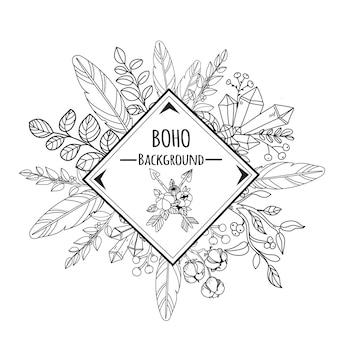Croquis de fond boho style encre et cadre avec des plumes et des fleurs